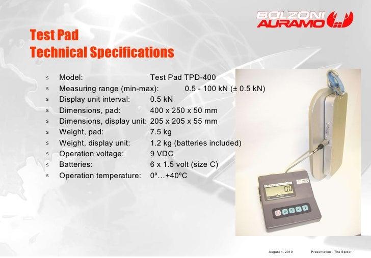 Test Pad  Technical Specifications <ul><li>Model:  Test Pad TPD-400 </li></ul><ul><li>Measuring range (min-max):  0.5 - 10...