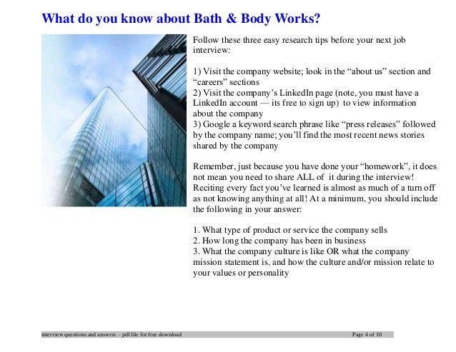 Bath body works interview questions and answers 4 interview questions and answers pdf file for free ccuart Choice Image