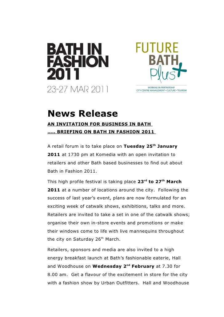 Press Release News ReleaseAN INVITATION FOR BUSINESS IN BATH BRIEFING ON FASHION 2011A