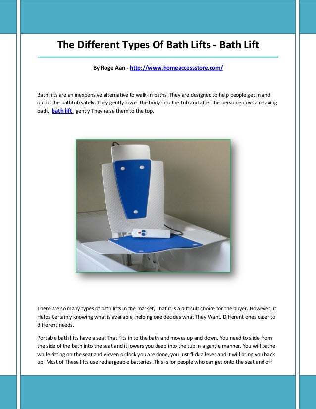 The Different Types Of Bath Lifts - Bath Lift_____________________________________________________________________________...