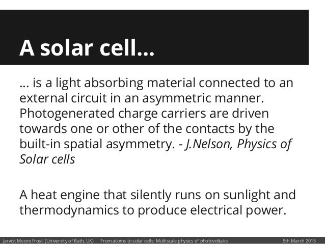 From Atoms to Solar Cells