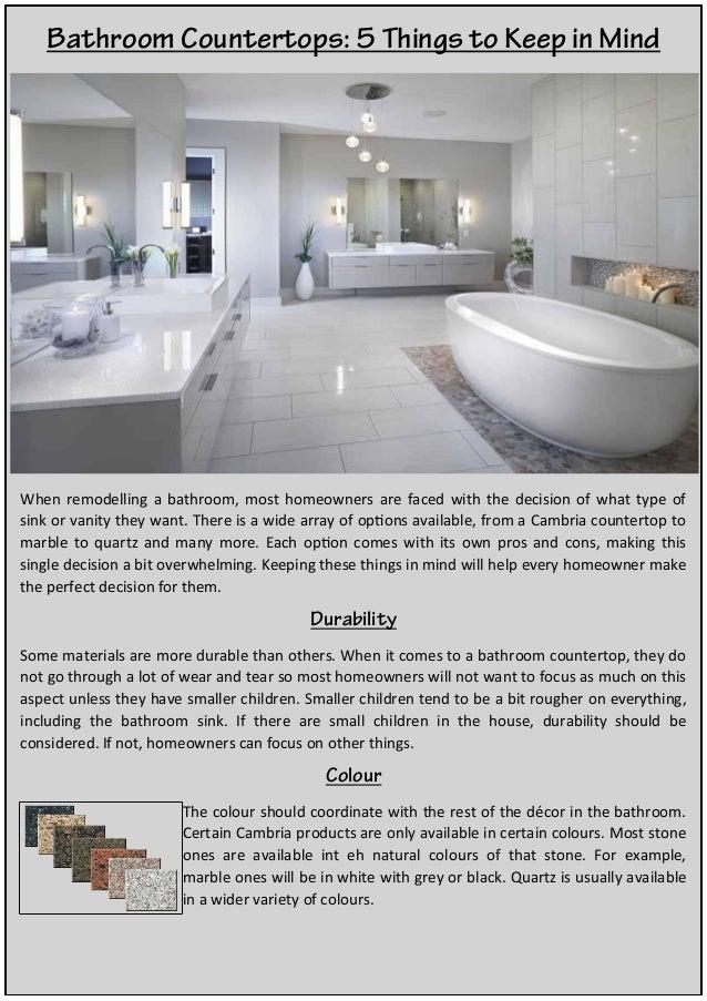 Bathroom Countertops 5 Things To Keep In Mind