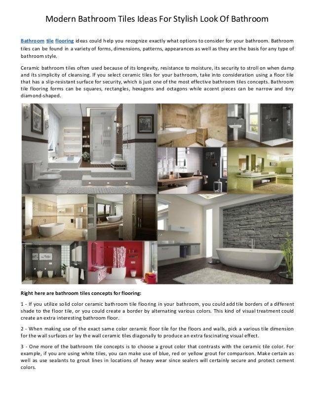 Modern Bathroom Tiles Ideas For Stylish Look Of Bathroom