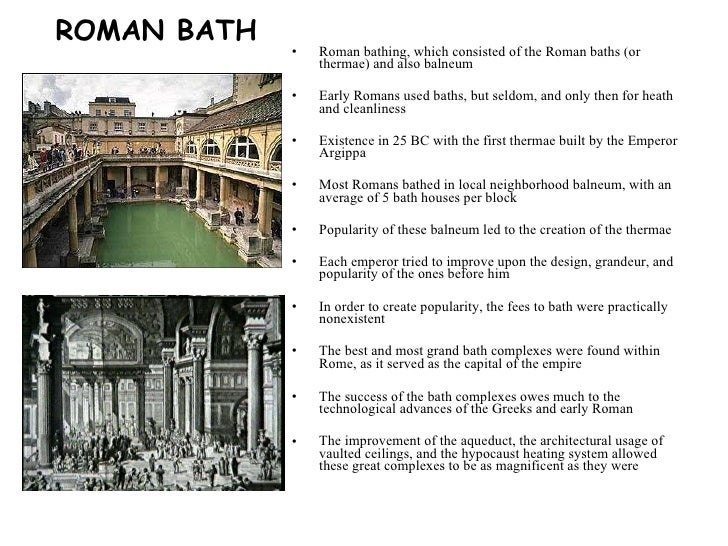an introduction to the history of thermae or the public baths Buy thermae et balnea: the architecture and cultural history of roman public baths 2nd revised ed by inge nielsen (isbn: 9788772885124) from amazon's book store everyday low prices and free delivery on eligible orders.