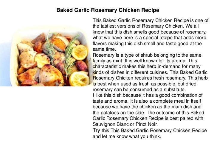 Batica restaurant 30 baked garlic rosemary chicken recipe ingredients forumfinder Gallery