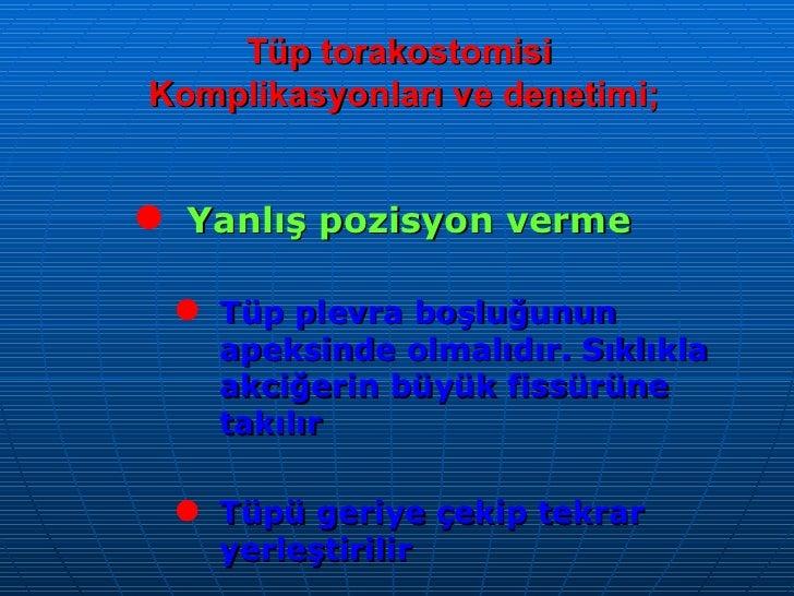 Tüp torakostomisi  Komplikasyonları ve denetimi; <ul><li>Yanlış pozisyon verme </li></ul><ul><ul><li>Tüp plevra boşluğunun...