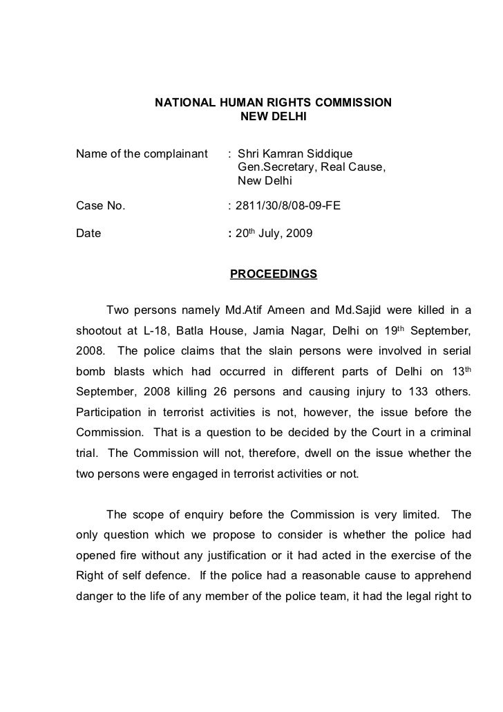 NATIONAL HUMAN RIGHTS COMMISSION                           NEW DELHIName of the complainant       : Shri Kamran Siddique  ...