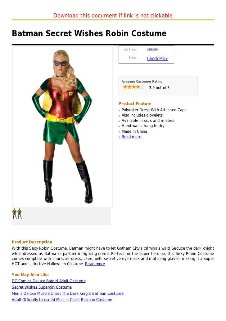 Download this document if link is not clickableBatman Secret Wishes Robin Costume .  sc 1 st  SlideShare & Batman secret wishes robin costume