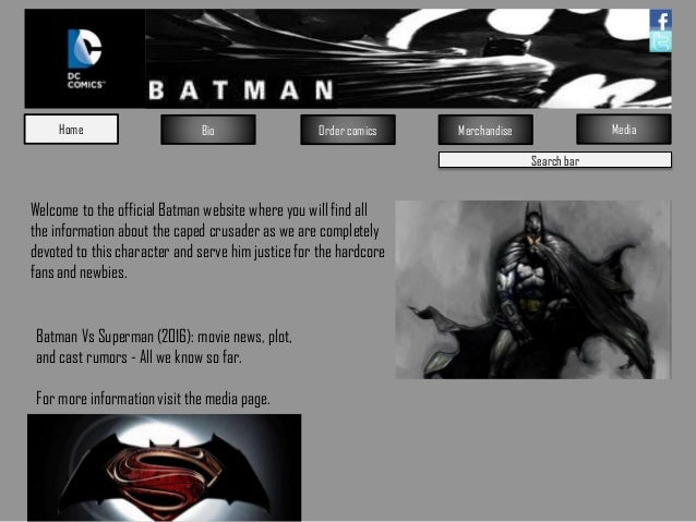 Search bar Home Bio Order comics Merchandise Media Welcome to the official Batman website where you will find all the info...