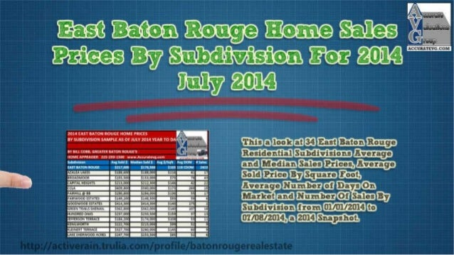 Baton Rouge Home Prices By Subdivisions-For 2014 As Of July 2014