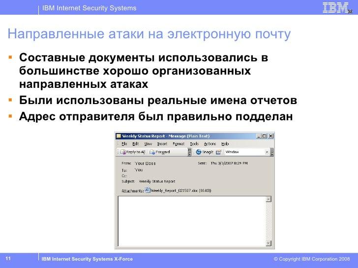 Направленные атаки на электронную почту <ul><li>Составные документы использовались в большинстве хорошо организованных нап...