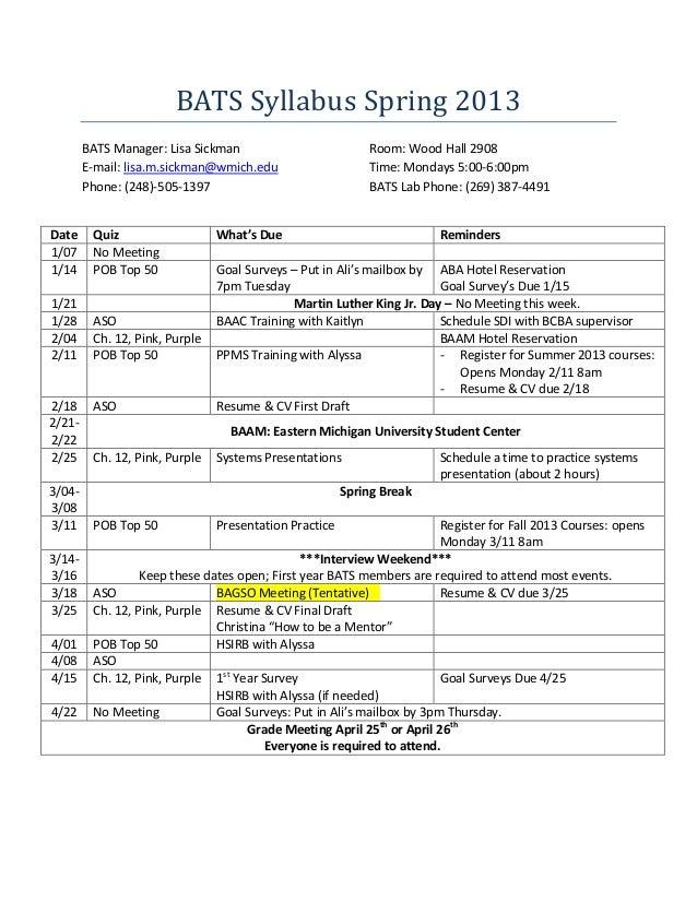 BATS Syllabus Spring 2013        BATS Manager: Lisa Sickman                          Room: Wood Hall 2908        E-mail: l...