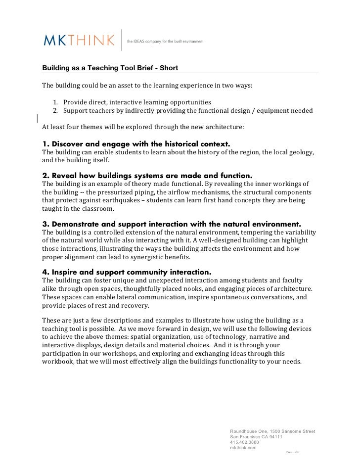 Building as a Teaching Tool Brief - Short The building could be an asset to the learning experience ...