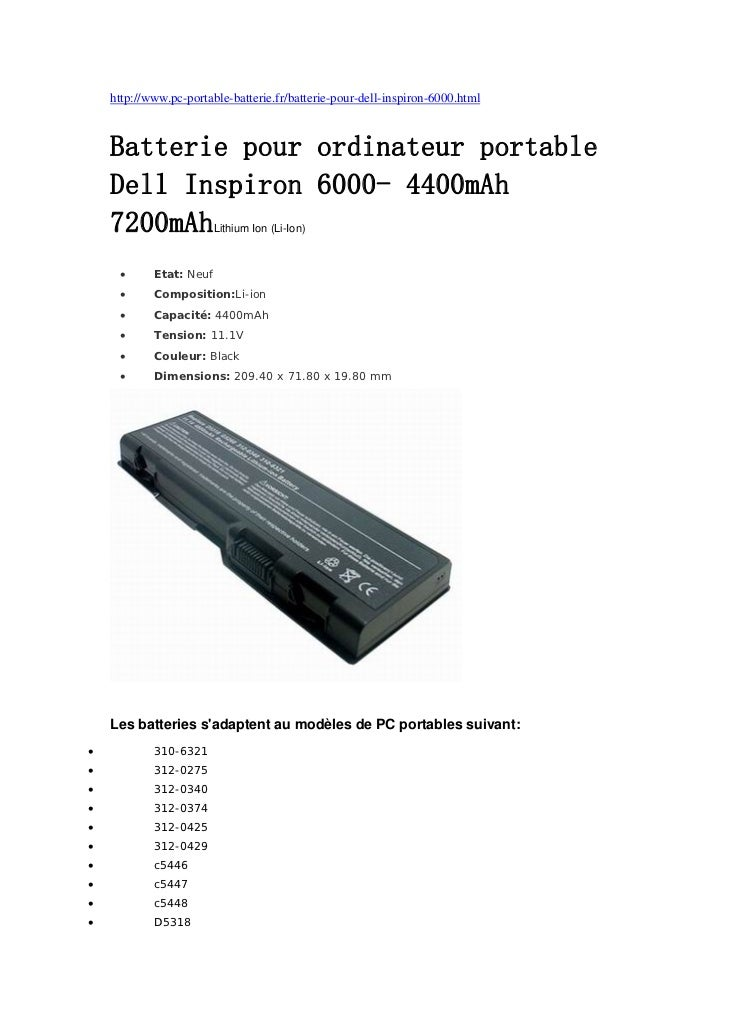 http://www.pc-portable-batterie.fr/batterie-pour-dell-inspiron-6000.html    Batterie pour ordinateur portable    Dell Insp...