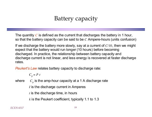 Peukert S Law : Lecture on lead acid battery