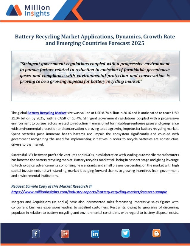 Battery recycling market applications, dynamics, growth rate and emer…