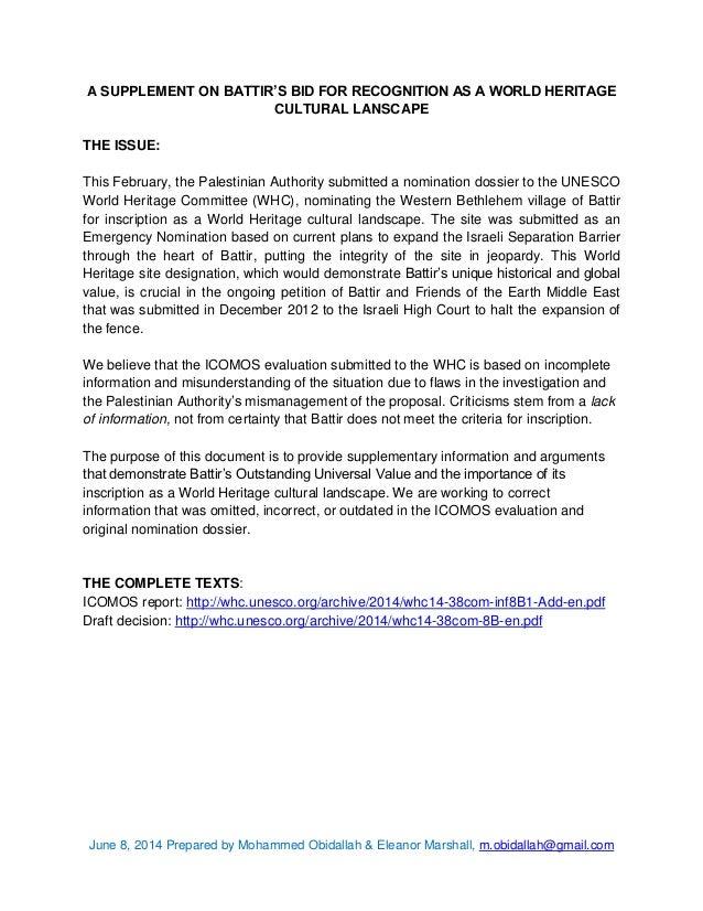 June 8, 2014 Prepared by Mohammed Obidallah & Eleanor Marshall, m.obidallah@gmail.com A SUPPLEMENT ON BATTIR'S BID FOR REC...