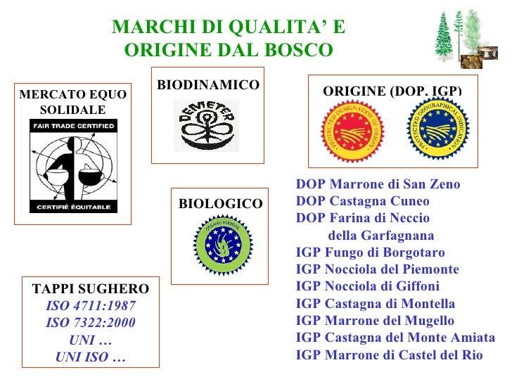 MARCHI DI QUALITA' E ORIGINE DAL BOSCO TAPPI SUGHERO ISO 4711:1987 ISO 7322:2000 UNI … UNI ISO … MERCATO EQUO SOLIDALE BIO...