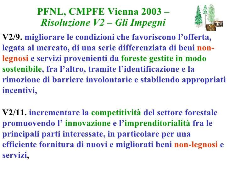 PFNL, CMPFE Vienna 2003 – Risoluzione V2 – Gli Impegni V2/9.  migliorare le condizioni che favoriscono l'offerta, legata a...