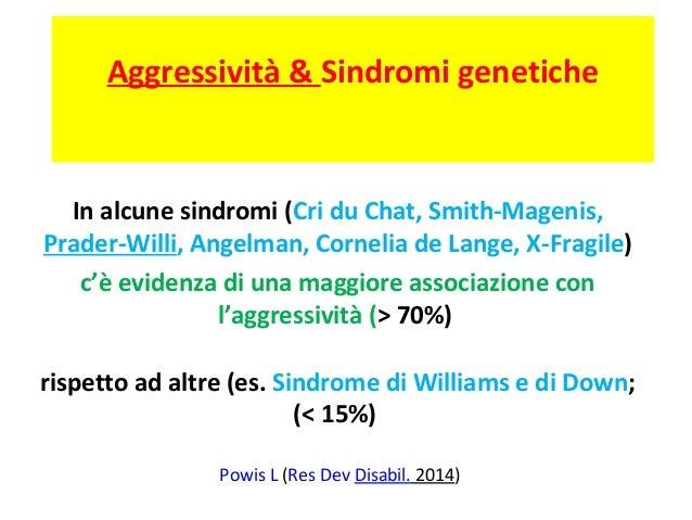 Aggressività & Sindromi genetiche  In alcune sindromi (Cri du Chat, Smith-Magenis,  Prader-Willi, Angelman, Cornelia de La...