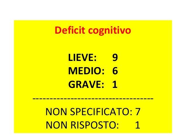 Deficit cognitivo  LIEVE: 9  MEDIO: 6  GRAVE: 1  -----------------------------------  NON SPECIFICATO: 7  NON RISPOSTO: 1