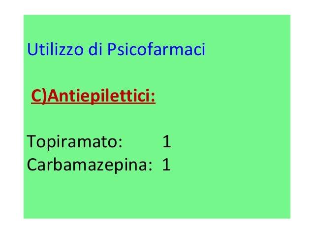 Utilizzo di Psicofarmaci  C)Antiepilettici:  Topiramato: 1  Carbamazepina: 1