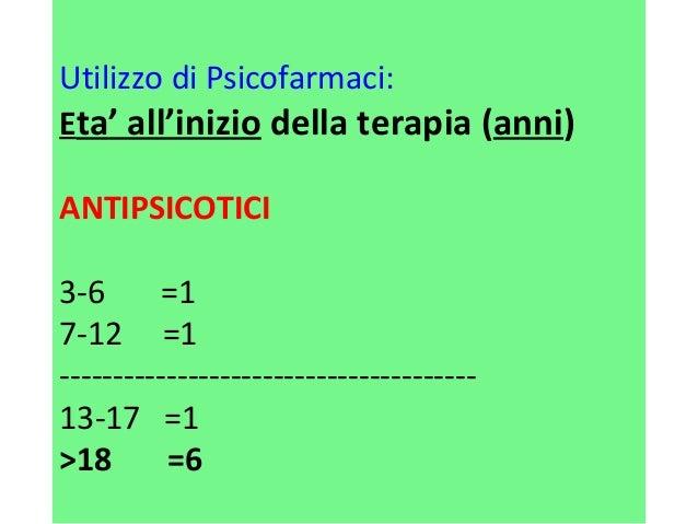 Utilizzo di Psicofarmaci:  Eta' all'inizio della terapia (anni)  ANTIPSICOTICI  3-6 =1  7-12 =1  -------------------------...