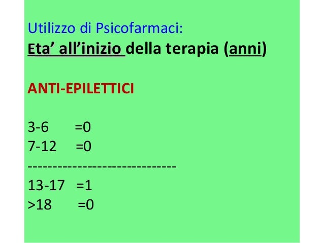 Utilizzo di Psicofarmaci:  EEttaa'' aallll''iinniizziioo della terapia (anni)  ANTI-EPILETTICI  3-6 =0  7-12 =0  ---------...
