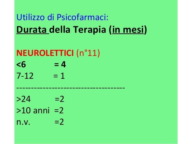 Utilizzo di Psicofarmaci:  Durata della Terapia (in mesi)  NEUROLETTICI (n°11)  <6 = 4  7-12 = 1  ------------------------...