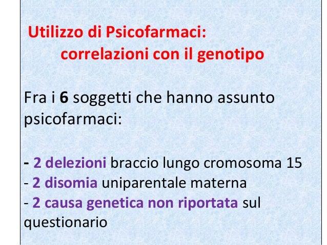 Utilizzo di Psicofarmaci:  correlazioni con il genotipo  Fra i 6 soggetti che hanno assunto  psicofarmaci:  - 2 delezioni ...