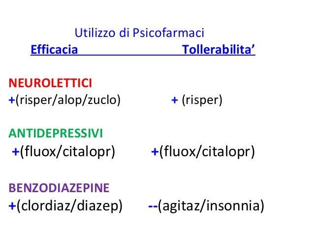 Utilizzo di Psicofarmaci  Efficacia Tollerabilita'  NEUROLETTICI  +(risper/alop/zuclo) + (risper)  ANTIDEPRESSIVI  +(fluox...