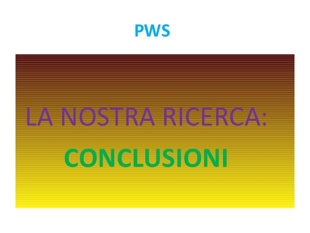 PWS  LA NOSTRA RICERCA:  CONCLUSIONI