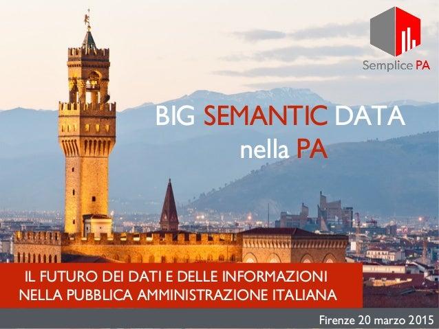 IL FUTURO DEI DATI E DELLE INFORMAZIONI NELLA PUBBLICA AMMINISTRAZIONE ITALIANA BIG SEMANTIC DATA nella PA Firenze 20 marz...