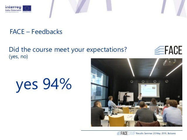 FACE – Feedbacks Did the course meet your expectations? (yes, no) yes 94% Results Seminar 20 May 2019, Bolzano