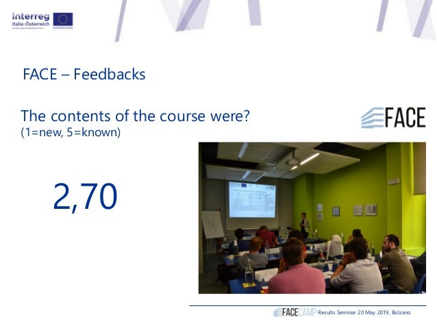 FACE – Feedbacks The contents of the course were? (1=new, 5=known) 2,70 Results Seminar 20 May 2019, Bolzano