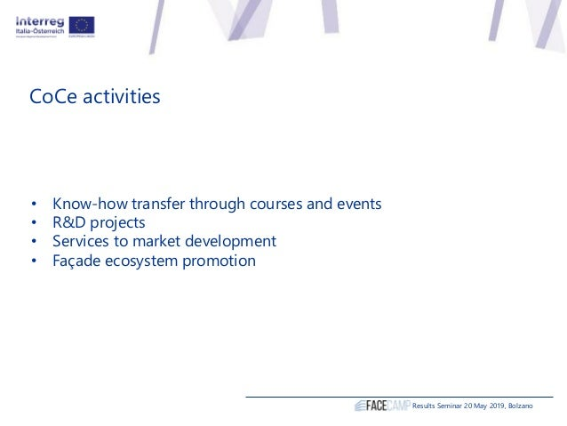 CoCe activities • Know-how transfer through courses and events • R&D projects • Services to market development • Façade ec...