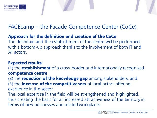 FACEcamp – the Facade Competence Center (CoCe) Approach for the definition and creation of the CoCe The definition and the...