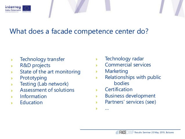 What does a facade competence center do? Technology transfer R&D projects State of the art monitoring Prototyping Testing ...