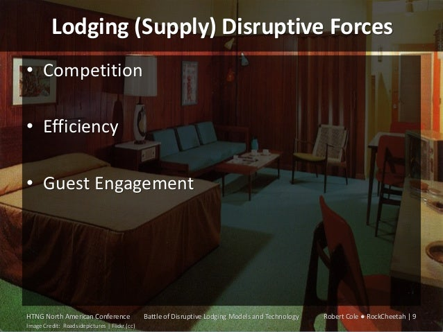 Lodging (Supply) Disruptive Forces • Competition • Efficiency • Guest Engagement  HTNG North American Conference Image Cre...