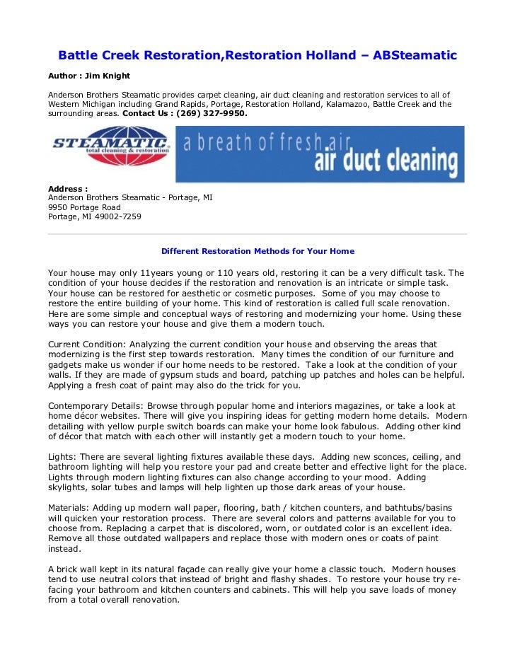 Battle Creek Restoration,Restoration Holland – ABSteamaticAuthor : Jim KnightAnderson Brothers Steamatic provides carpet c...