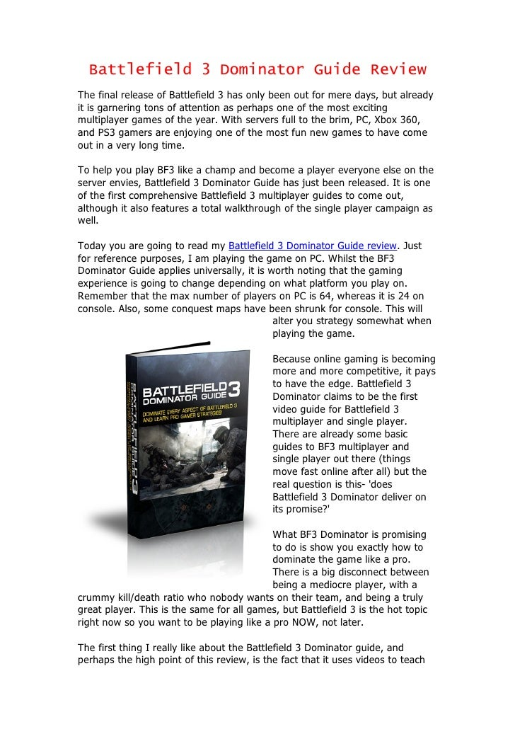 Battlefield 3 Dominator Guide Review