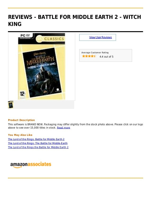 REVIEWS - BATTLE FOR MIDDLE EARTH 2 - WITCH KING ViewUserReviews Average Customer Rating 4.4 out of 5 Product Description ...