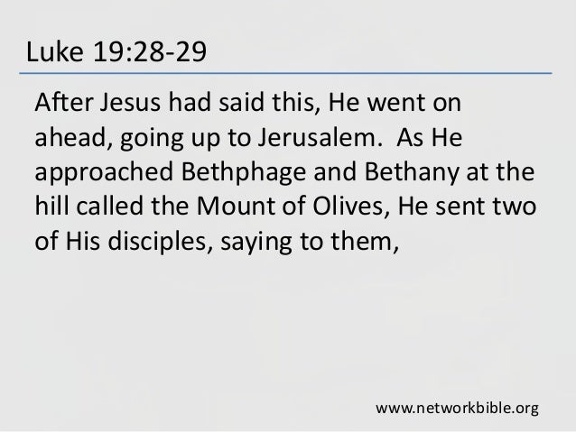 Luke 19:28-29 After Jesus had said this, He went on ahead, going up to Jerusalem. As He approached Bethphage and Bethany a...