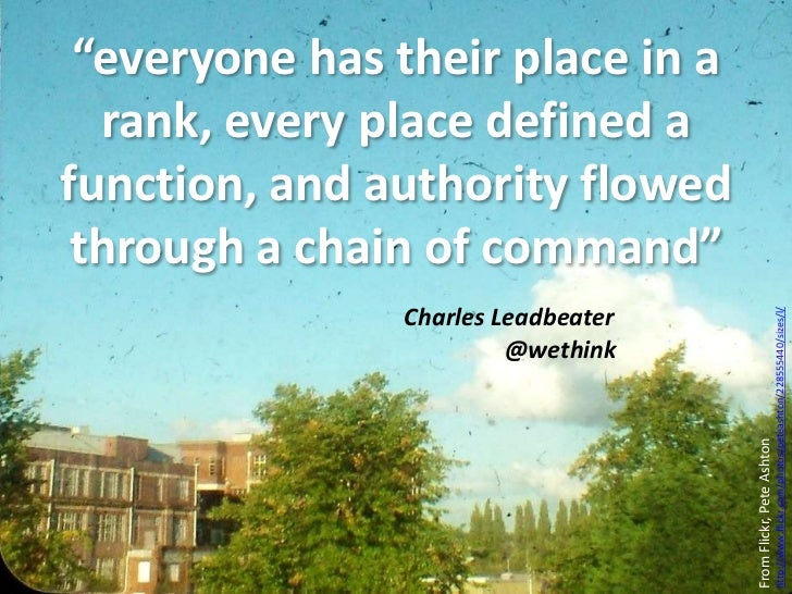 """""""everyone has their place in a rank, every place defined a function, and authority flowed through a chain of command""""<br /..."""