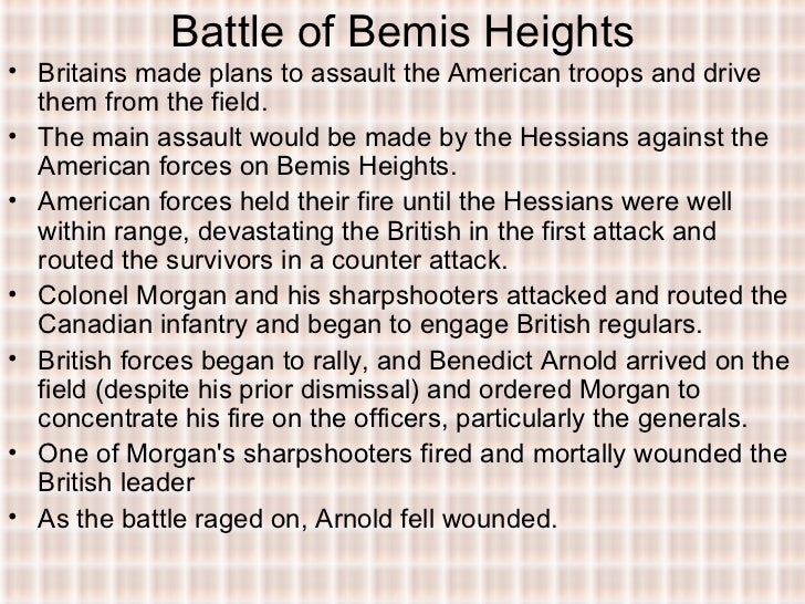 battle of bemis heights The battle of bemis heights - american revolution - historycom in the fall of 1777, british troops commanded by general john burgoyne were advancing south from canada towards new york along the water route of lake  wwwhistorycom.