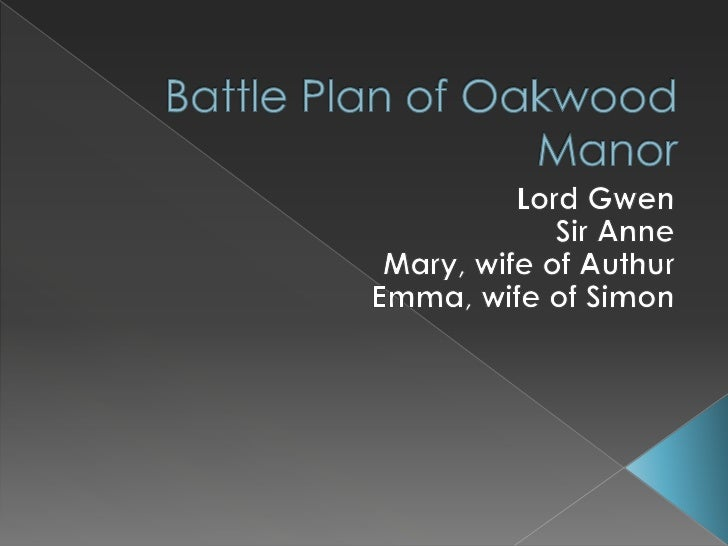 Battle Plan of Oakwood Manor<br />Lord Gwen <br />Sir Anne<br />Mary, wife of Authur<br />Emma, wife of Simon<br />