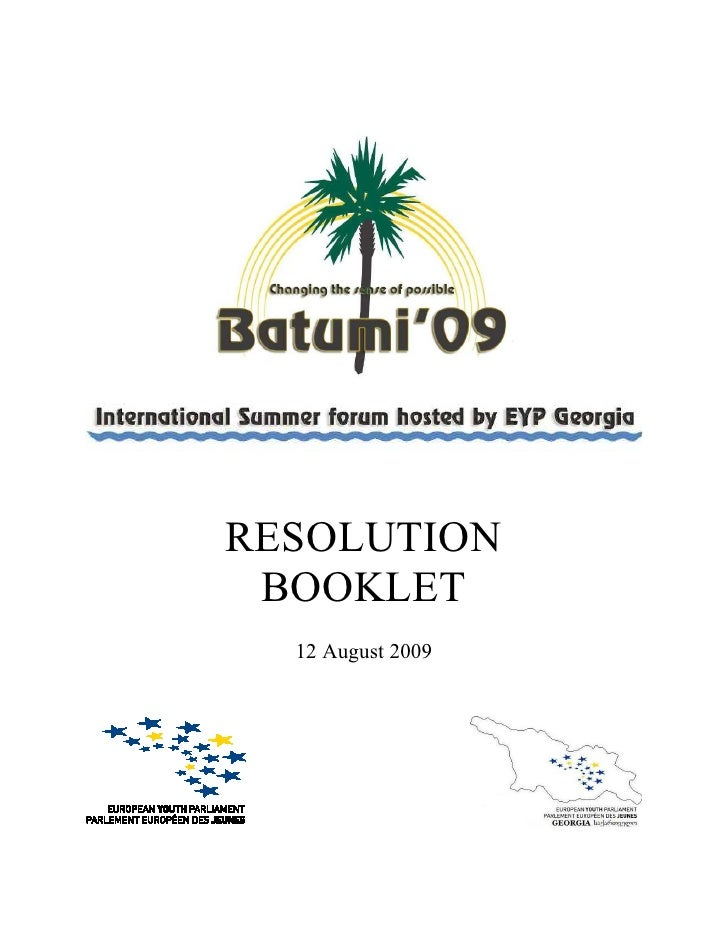 RESOLUTION  BOOKLET   12 August 2009