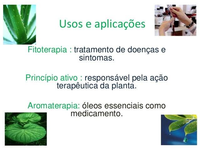 Usos e aplicações Fitoterapia : tratamento de doenças e sintomas. Princípio ativo : responsável pela ação terapêutica da p...