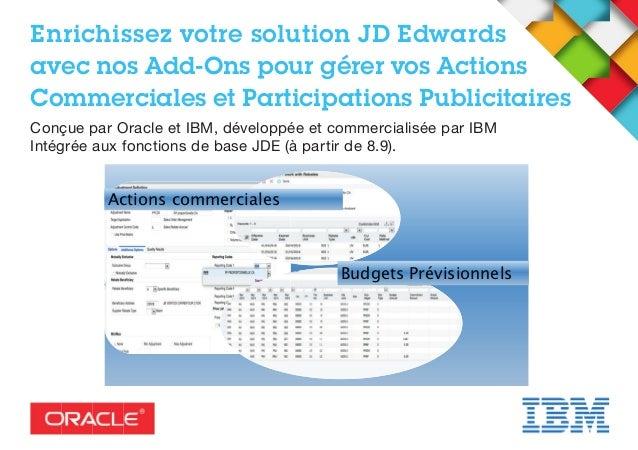 Enrichissez votre solution JD Edwards avec nos Add-Ons pour gérer vos Actions Commerciales et Participations Publicitaires...