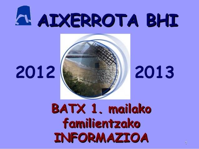 AIXERROTA BHIAIXERROTA BHIBATX 1. mailakoBATX 1. mailakofamilientzakofamilientzakoINFORMAZIOAINFORMAZIOA2012 201311